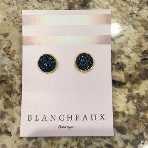 {Blancheaux Boutique}Blue Druzy Earrings